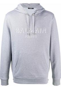Balmain Moletom Com Capuz E Logo - Cinza
