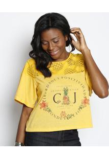 Camiseta ''Liberdade E Positividade'' - Amarela & Preta