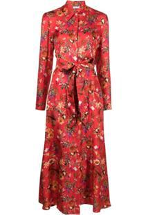 813 Vestido Com Estampa Floral De Seda - Vermelho