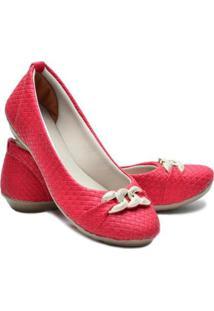 Sapatilha Ded Calçados Bico Redondo Feminina - Feminino-Vermelho