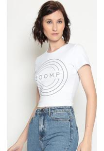 Blusa Cropped ''Zoomp''- Branca & Cinza Escuro- Zoomzoomp