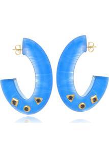 Argola Le Diamond Acrilico Com Tachas Azul