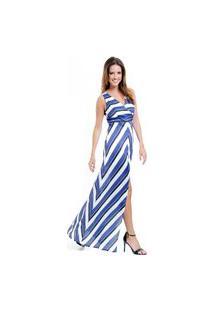 Vestido Longo 101 Resort Wear Festa Estampado Crepe Listrado Azul