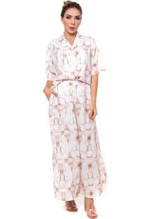 Camisa Vértice Feminina Estampada Com Botões Geométrica Marrom