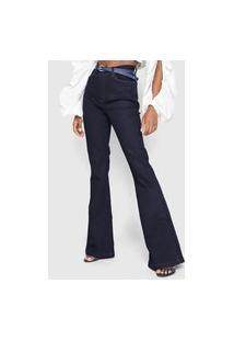 Calça Jeans Guess Flare High Azul-Marinho