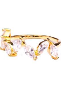 Meia Aliança Boca Santa Coroa Romana Cristal - Ouro Amarelo