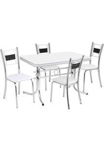 Conjunto De Mesa Com 4 Cadeiras Katia Prata E Branco - Única