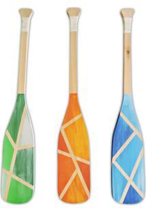 Remos Em Madeira Decorativos Soul Fins Kit Com 3 Peças - Kanui