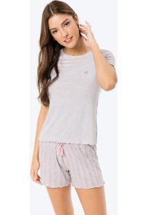 Pijama Cinza Claro Em Viscose Com Strass