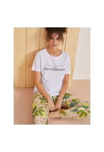 Amaro Feminino T-Shirt Slim Fit Wildflowers, Branco