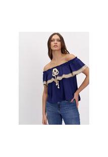 Blusa Ombro A Ombro Lança Perfume Blusa Azul