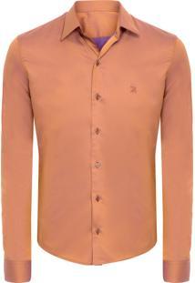 Camisa Masculina New Lyon Saten - Marrom
