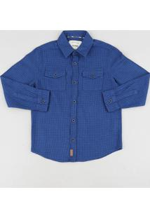 Camisa Infantil Estampada Xadrez Com Bolsos Manga Longa Azul