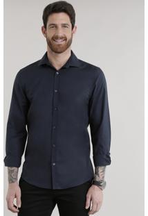 Camisa Slim Em Algodão + Sustentável Azul Marinho