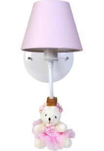 Arandela 1 Lâmpada Ursinha Princesa Bebê Infantil Menina Potinho De Mel Rosa - Kanui
