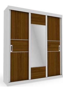 Armário 03 Portas Com Espelho, Branco Com Nogueira E Branco Acetinado, Lux