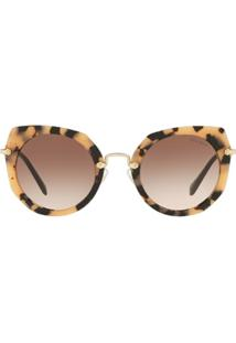 Miu Miu Eyewear Óculos De Sol Artiste Com Lentes Degradê - Marrom