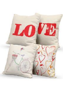 Kit 4 Capas De Almofadas Decorativas Own Love E Corações 45X45 - Somente Capa
