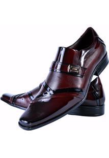Sapato Social Gofer Verniz Vinho/Preto