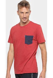 Camiseta Botonê Redley Com Bolso Bicolor Masculina - Masculino-Vermelho