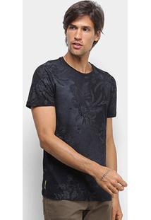 Camiseta Canal Surf Floral Full Print Masculina - Masculino-Preto