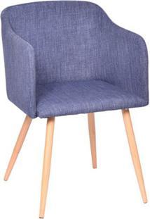 Poltrona Charlote- Jeans Azul & Bege- 80X54,5X46Cm