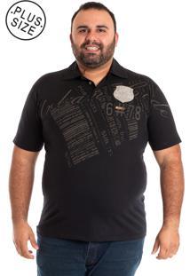 ... Camisa Polo Konciny Plus Size Preta 1d48e4b973da8