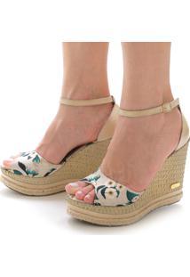 Sandália Anabela Sb Shoes Ref.3201 Off White/Floral - Kanui