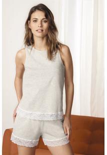 Pijama Em Algodão Com Detalhes De Renda