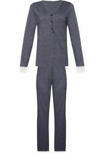 Pijama Feminino Longo Blusa Com Botões