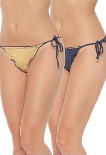 Calcinha Lili Sampedro String Bicolor Dourada/Azul-Marinho