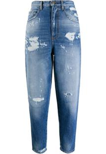 Just Cavalli Calça Jeans Cropped Com Destroyed - Azul