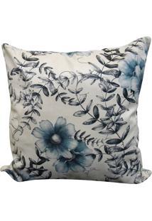 Capa Para Almofada Veludo Estampado 45X45 - Perfil Matelados - Floral / Azul / Branco