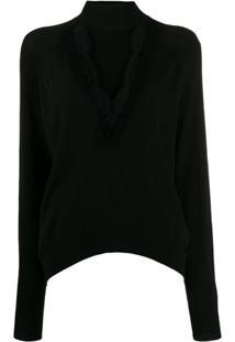 Pinko Suéter Com Recortes De Renda - Preto