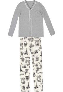 Pijama Feminino Em Malha De Algodão Com Detalhe De Renda