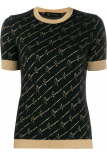 Versace Blusa De Tricõ Com Estampa De Logo - Preto
