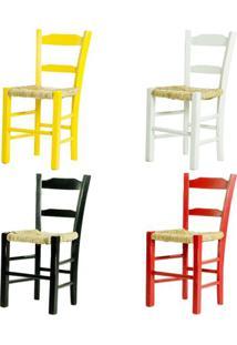 Kit 4 Cadeiras Lagiana Pequenas Eucalipto Coloridas A Assento Palha - 59475 - Sun House
