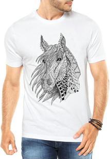Camiseta Criativa Urbana Cavalo Tattoo Style Illustration Tribal - Masculino-Branco