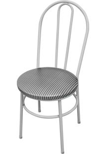 Cadeira Milla Branco/Tick Listras Açomix