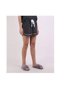 Short De Pijama Listrado Com Vivo Contrastante E Amarração Preto