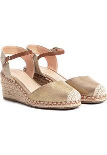 Espadrille Shoestock Anabela Lona Feminina - Feminino-Dourado