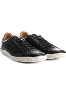 Sapatênis Couro Shoestock Cadarço Elástico Masculino - Masculino-Preto