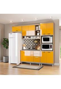 Cozinha Compacta 4 Peças Sicília 5828-S14 - Multimóveis - Argila / Amarelo