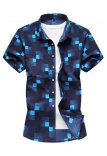 Camisa Masculina Estampa Xadrez Manga Curta - Azul Escuro