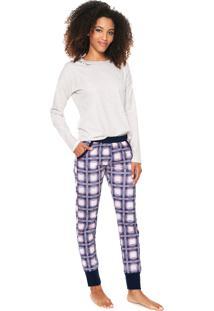 Pijama Censato Xadrez Off-White