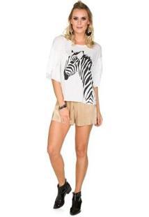 Blusa Via Costeira Com Babados E Estampa Zebra Feminina - Feminino-Off White