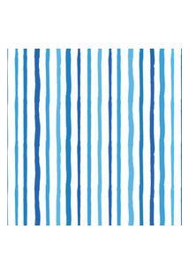 Papel De Parede Azul Listras Aquarela Para Sala 57X270Cm