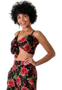 Top Cropped Floral Dália Feminino - Feminino-Preto