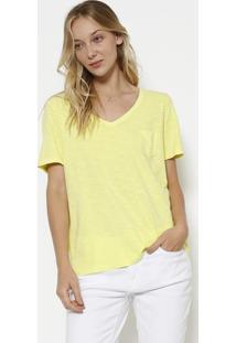 Camiseta Em Flamê Com Bolso - Verde Claro Neoncanal