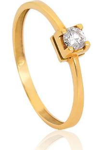 Anel Solitário De Ouro 18K Diamante 15 Pts To Love